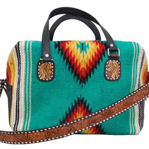 "Weekender Bag - Woolen Bag with Hand Tooled Shoulder Strap and accents with White Buckstitching (17""x 11""x10.5"") Green"